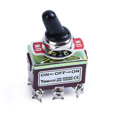 Heavy Duty 20A 125V DPDT 3 Position 6 Terminal On/Off/On Toggle Switch with Boot