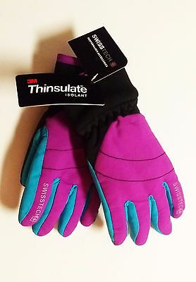 Swiss Tech 3M THINSULATE Girls Sparkling Orchid & Turquoise Ski Gloves NEW FAST!