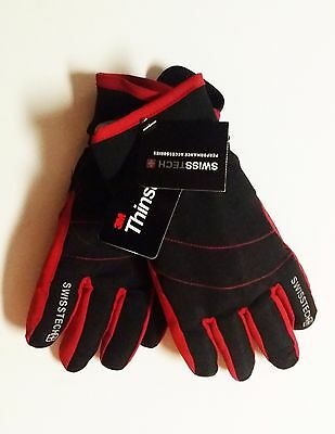 Swiss Tech 3M Thinsulate Boys RED & BLACK Winter Ski Gloves Size S-M WATERPROOF