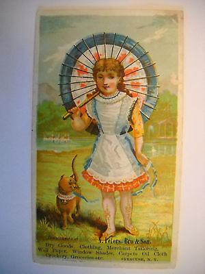 DRY GOODS & CLOTHING Victorian Trade CARD CHROMOLITHO girl walks cat SYRACUSE NY