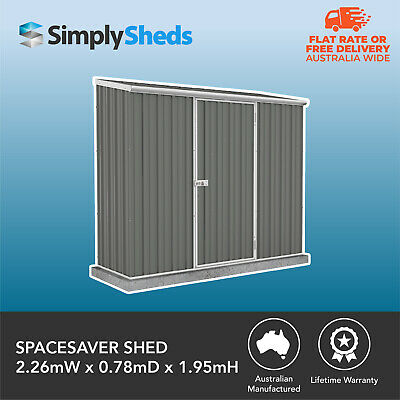 ABSCO SPACESAVER GARDEN SHED 2.26m x 0.78m WOODLAND GREY COLORBOND 30yr WARRANTY