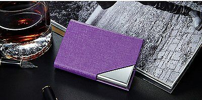 LinTimes PU Leather Stainless Steel Business Card Holder Name Card Case with