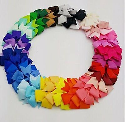 40pcs/lot Baby Girl Grosgrain Ribbon Boutique Hair Bows For Teens Baby Girls 4