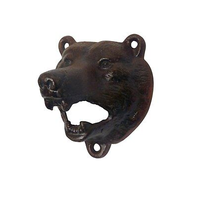 Cast Iron Wall Mount Grizzly Bear Teeth Bite Bottle Opener Brown