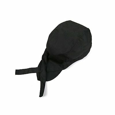 Tinksky Chefs Hat Kitchen Catering Skull Cap Ribbon Cap Turban Black