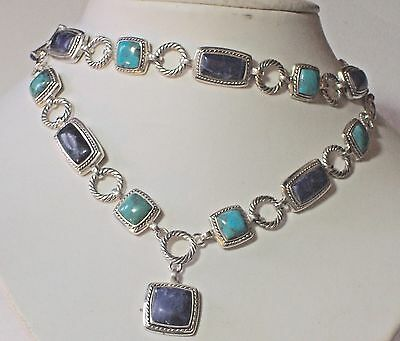 Silver Sodalite & Turquoise Necklace & Bracelet