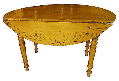 French Provincial Paint Decorated Table Antique French Napoleon III Drop Leaf Ta