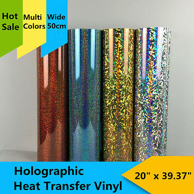"Holographic Heat Transfer Vinyl Material T-Shirt Heat Press Printing20"" x 39.37"""