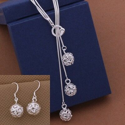 Elegant Set 925 Silver Necklace And Earrings *UK Seller*