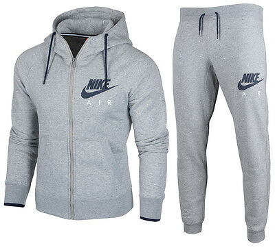NIKE AIR HERREN Trainingsanzug Sportanzug Jacke+Hose Jogging Rv Fleece Grau  S-L