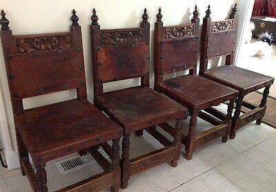 Set 4 Antique Heavy Ornate Carved Wood & Leather Rustic Chairs From Mexico