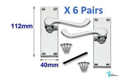 6 Sets /Pairs of Polished Chrome Victorian Scroll Lever Latch Door Handles 112mm