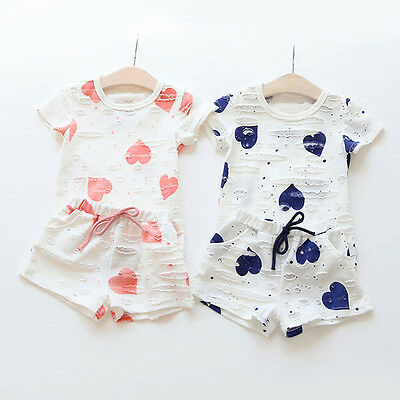 2PCS Kids Toddler Baby Girls T-Shirt Tops+Shorts Pants Tracksuit Outfits Clothes