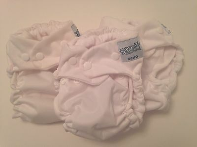 Lot Of 3 NWOT SoftBums Echo Snap Cloth Diaper Shells In White Coconut
