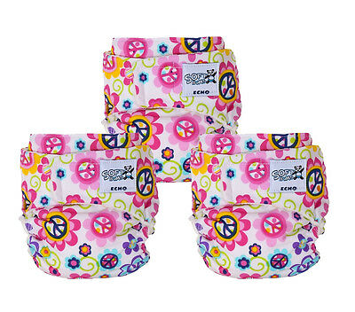 Lot Of 3 NWOT SoftBums Hook & Loop Echo Cloth Diaper Shell In Peace Sign Pattern