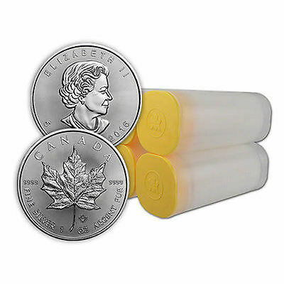 4 Rolls (100 coins) -2017 Silver Canadian Maple Leaf  BU 1oz - Free Monster Box