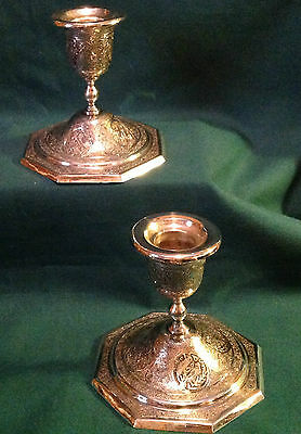 Pair of Antique Persian Isfahan Silver Candlesticks - Persia