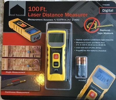 New Tool House 100 Ft. Laser Distance Measurer & Batteries New In Box FREE SHIP