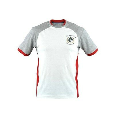 Beretta Double Collar Short Sleeve T-Shirt Clay Pigeon Shooting White Red Grey