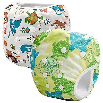 Storeofbaby 2pcs Reusable Baby Swim Diapers (Pack of 2) White Green