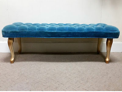 Vintage French Provincial Upholstered Bench Stool Tuffted Blue Velvet Bedside