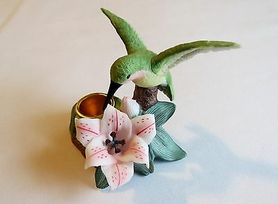Porcelain Hummingbird Feeding At A Lily Figurine/Candle Holder-4 1/8""