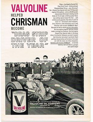 1961 Valvoline Motor Oil Jack Chrisman Two Engine Dragster  Vtg Print Ad