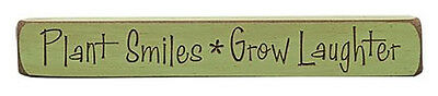 """Plant Smiles Grow Laughter Engraved Wood Sign Block Shelf Sitter 12/"""" W Green"""