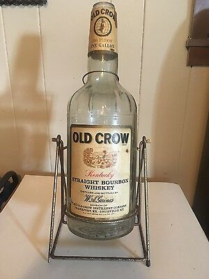 Vintage One Gallon Old Crow Bottle with Tipping Stand
