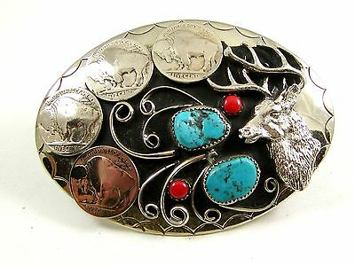 Southwest Handcrafted Buck Deer 4 Nickels Coral Turquoise Belt Buckle USA
