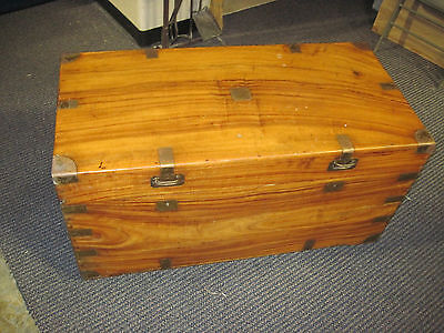 Antique English Asian Oriental Campaign Camphor Wood Chest Trunk Signed Casters