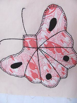 """Antique Vtg PINK BUTTERFLY QUILT BLOCK 8.75"""" square HAND-Embroidered c1930-40's"""