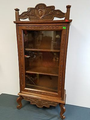 Antique Hand Carved Display Cabinet Skeleton Key Lock with Key Mastercrafted