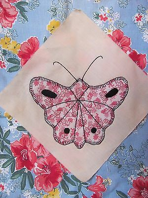 """Antique Vtg PINK FEEDSACK BUTTERFLY QUILT BLOCK 8.75"""" sq HAND-Embroid c1930-40's"""
