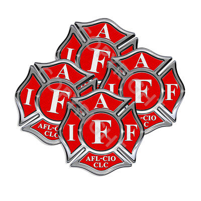 IAFF Stickers 2inch Decals 4 pack Firefighter Intl Maltese Cross Red White 2inch