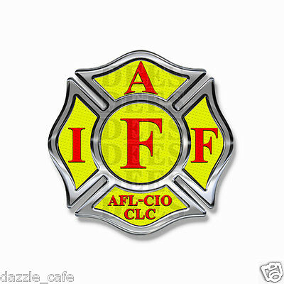 """IAFF Stickers 2""""  Decals (4 pack) Firefighter Int'l Maltese Cross Yellow w/Red"""