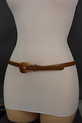 Women Brown Faux Leather Fashion Narrow Belt Hip High Waist 3D Buckle Size S M