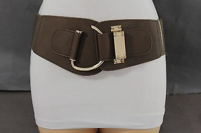Women Gold Metal Hook Buckle Trendy High Waist Hip Belt Light Brown Elastic S M
