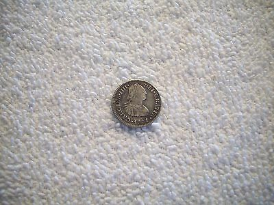 1801 FM Mexico Spanish Colony Carlos IV 1/2 Real Silver Coin