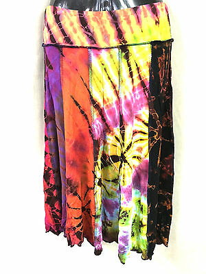 Lot of 5 spandex panel skirts tie dye.Unique.Wil fir many sizes.Boho.Hippy.New.