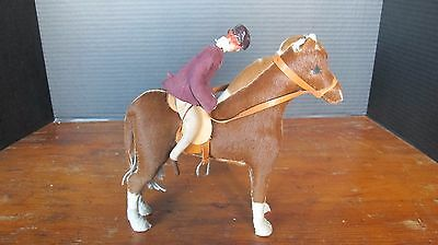 Vintage Brown Horse & Rider Hand Made Real Skin Horses Edith Reynolds England
