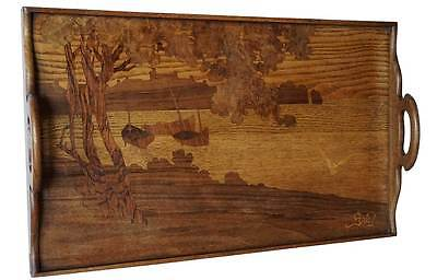 Antique French Emile Galle Art Nouveau Marquetry Walnut Gallery Tray c. 1900