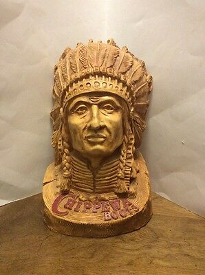 "Chippewa Boots Native American Indian Bust Statue Advertisin 13.25"" Collectible"