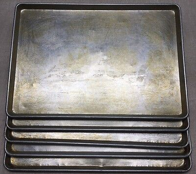 """LOT OF 5-17 3/4"""" x 25 3/4"""" FULL SIZE SHEET PIZZA/BAKING PANS-GOOD USED CONDITION"""