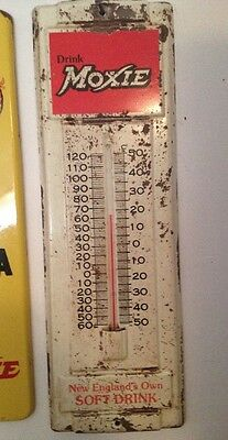 """Vintage Moxie Thermometer Sign Authentic Original 14"""" Free Shipping"""