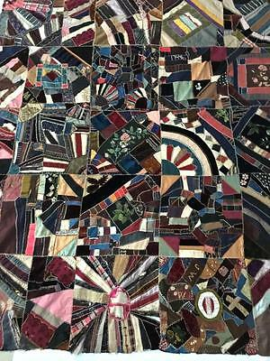 Victorian Crazy Quilt #2, signed, dated 1889 Friendship Quilt WONDERFUL embroid.