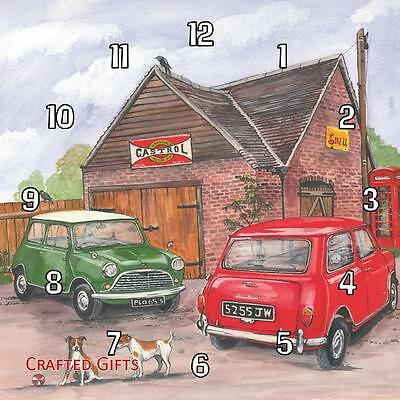 Two (2) classic Mini's by Sue Podbery Handmade Wall Clock