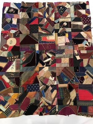 Victorian Crazy Quilt -1890s Silk, Velvets, Hand Emb., GREAT Top Stitching 66x52