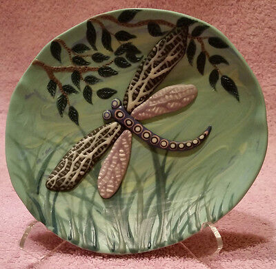 RARE Joan Miller Signed Porcelain Dragonfly Small Decorative Dish--- Beautiful