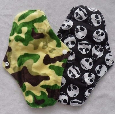 NEW! Reusable BAMBOO & MINKY Cloth  Sanitary Pad Medium Regular Flow FREE P&P!
